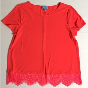 Cece Women's Neon Orange Red Flowy Top M Stretch